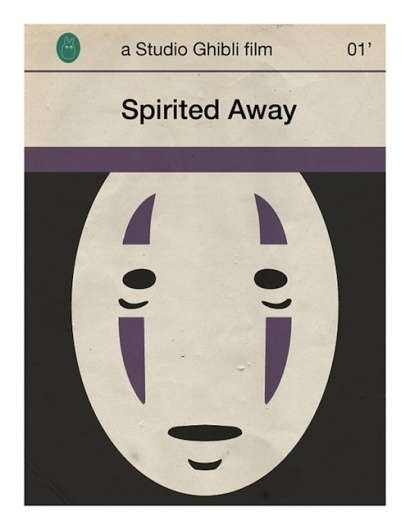 Japanese Movies Imagined As Penguin Book Covers - DesignTAXI.com #spirited #ghibli #book #cover #illustration #mask #away
