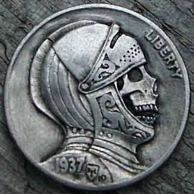 0HOBO5.jpg 280×280 pixels #coin #skull #hobo #carved