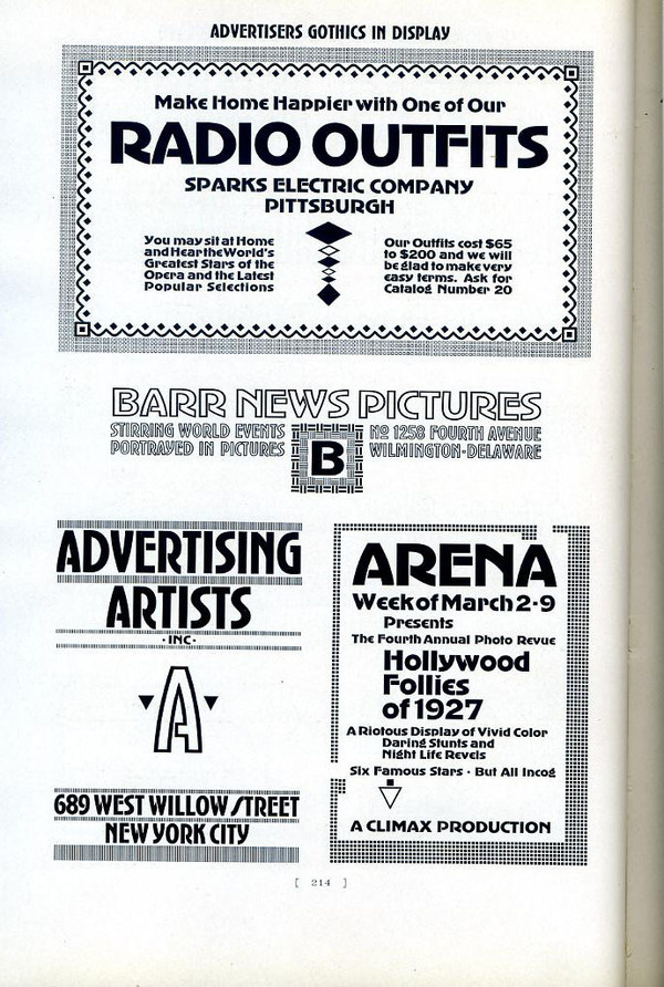 Advertiser's Gothic is a typeface designed by Robert Wiebking for Western Type Foundry in 1917. #type #specimen #typography