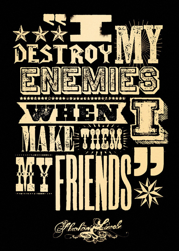 Fit for a Frame — I destroy my enemies #quote #print #letterpress #black #vintage #gold #type #typography