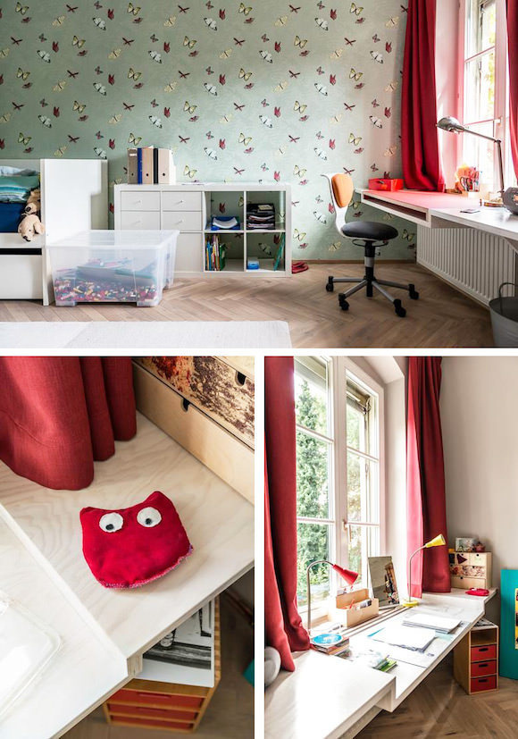 Built In Desk Space for Kids (fit in space above radiator where furniture wasn't an option) #interior #design #decor #deco #decoration