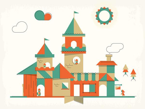 Castles | DangerDom Studios #color #shapes #illustration #mid #century #cute #castle #kids