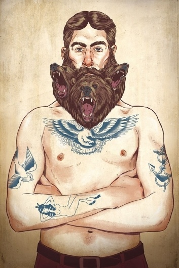 Illustrations 2012 on Illustration Served #sparow #beard #eagle #tattoo #painting #bears #anchor