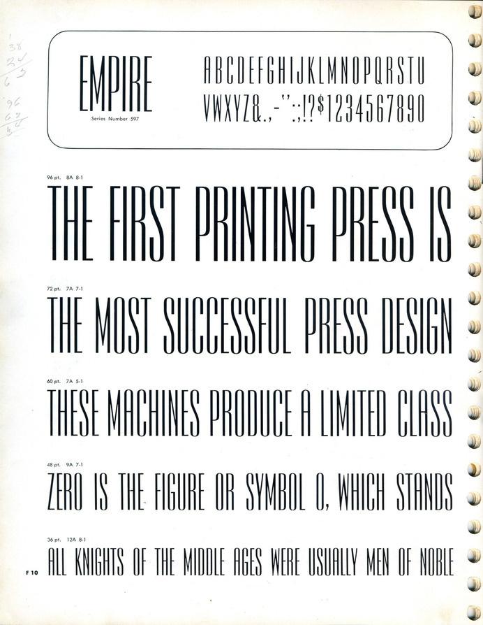 Empire type specimen #type specimen