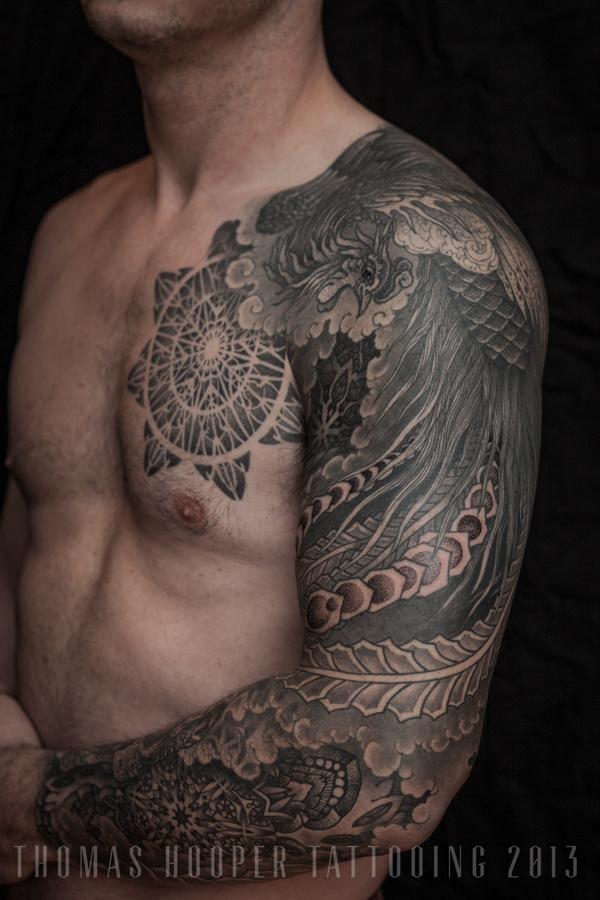 Thomas Hooper Tattooing Pheonix and Mandala Full Sleeve _3 #hooper #thomas