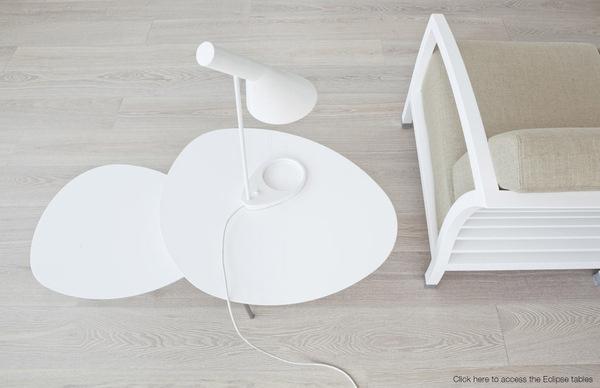 STUA. Eclipse design nesting tables & the Malena design armchair #tables #eclipse #tua #spain #white #design #furniture #nesting