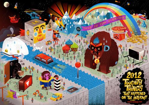 2012 Twenty Things That Happened On The Internet #city #design #bold #illustration #era #poster #art #new