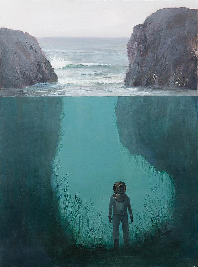 Jeremy Miranda - Art #submerged #ocean #diver #waves #illustration #sea #rocks #diving #painting #seaweed #underwater