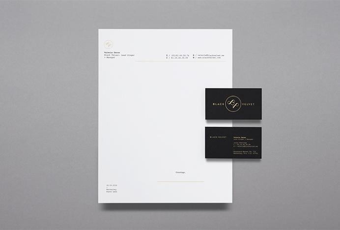 Black Velvet by NNATO #logo #mark #gold #stationary #print #business #card