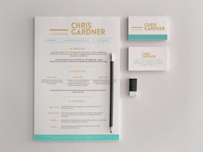 Free Simple Resume and Business Card Template