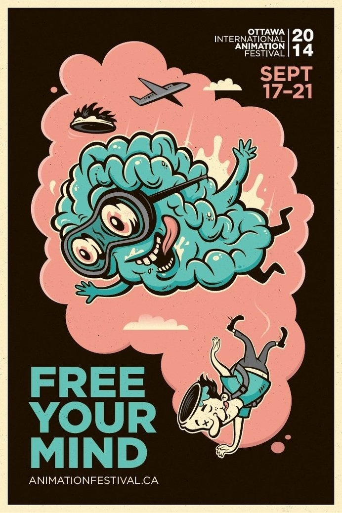 Adeevee - 2014 Ottawa International Animation Festival: Free your mind #cloud #mind #free #brain #float #illustration #poster