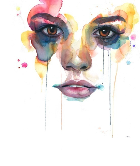 Marion Bolognesi #woman #illustrator #paint #illustration #face #watercolor