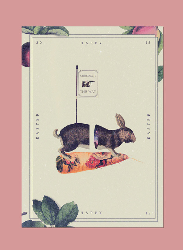 Happy Easter 2015 on Behance #carrot #bunny #pink #print #chocolate #vintage #poster #collage