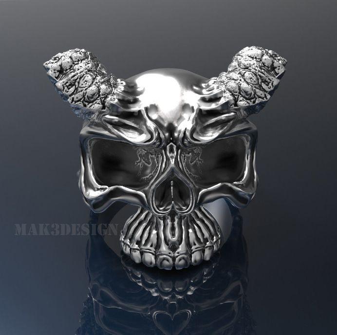 mens skull ring silver skull rings size - 20mm 3d model stl 4