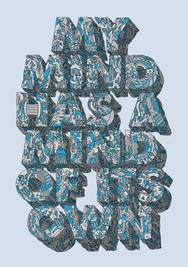 Adam Dedman — Illustration & Graphic Design — My Mind #type #illustration #blue