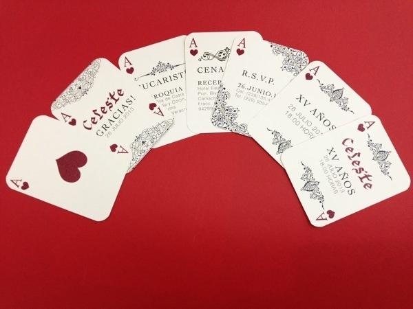 XV Invitation/ Invitaciones de XV años / #invitation #corazones #print #playing #poker #cartas #hearts #cards