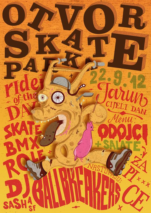 Skate Park Opening poster by Ivorin Vrkaš, Hrvoje Dominko and Tena Kelemen #croatia #event #wood #crazy #bike #music #zagreb #lettering #festival #color #opening #park #handmade #grunge #type #ivorin #dog #bmx #orange #jarun #typography #woodcut #skate