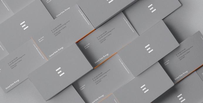 United Solar Energy branding grey orange logo logotype use print stationery mindsparkle mag