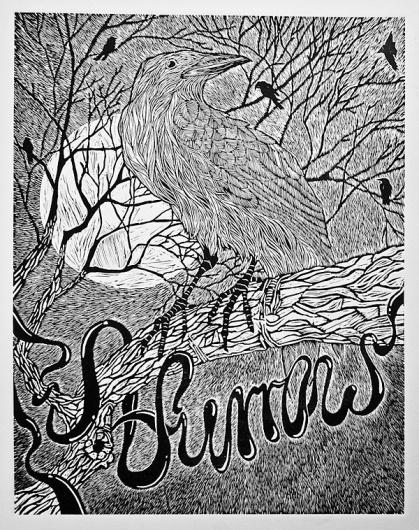 Furrow on the Behance Network #blackwhite #handcraft #bird #night #crow #furrow #linocut #moon