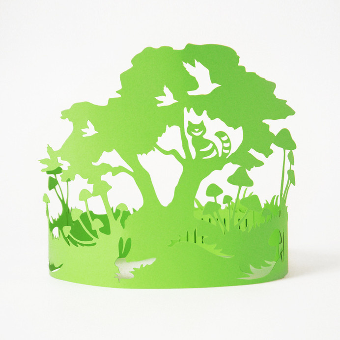 Paper Crowns #green #tree #design #cat #gift #sculptures #lasercut #handmade #art #birthday #mushrooms #blue #wonderland #paper #party