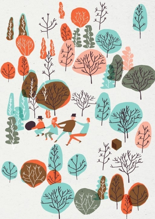 Hannah Warren #red #tree #color #people #blue #trees #pastel