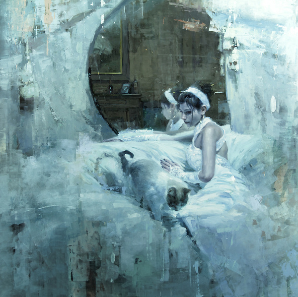 """The Forgotten (Version One Abandon)"" 48 x 48 in. Oil on Panel 2012 #dress #white #woman #painting"