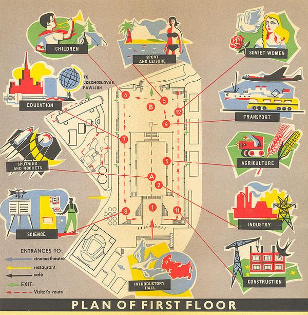USSR Pavilion, first floor map | Flickr: Intercambio de fotos #illustration #urss #map