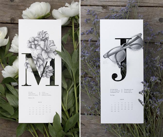 Illustrated calendar by Carla Cascales Alimbau #2015 #poem #calendar #illustration #haiku #typography
