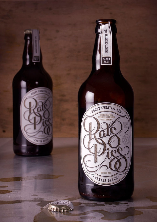 Rats Piss, Small batch brew - Buddy Creative #beer #lettering #rats #packaging #self #craft #piss #type #promotion