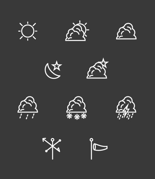 Weather Icon Set, Free Download on Behance #sun #wind #vector #weather #cloud #icon #illustrator #rain #lightning #star #outline #moon