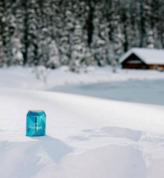 postmark, beer, culture, reflective, bottle, winter, snow, cabin