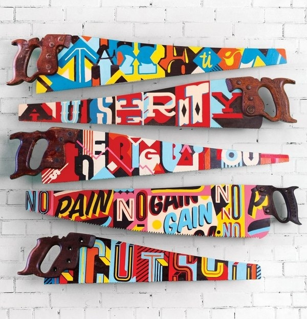 Type Worship — Double edged saws New York based design studio,... #tactile #color #saw #letter #paint #hand #typography