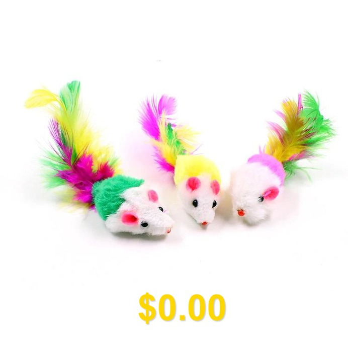 5A05 #Plush #Mouse #Cat #Pet #Funny #Toy #with #Colored #Tail #Small #Mouse #2 #inch #- #RANDOM