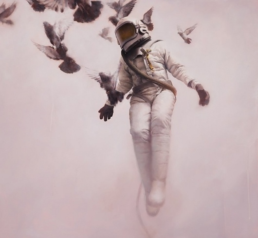 Wild, Young, and Free #art #painting #astronaut #jeremy geddes #doves