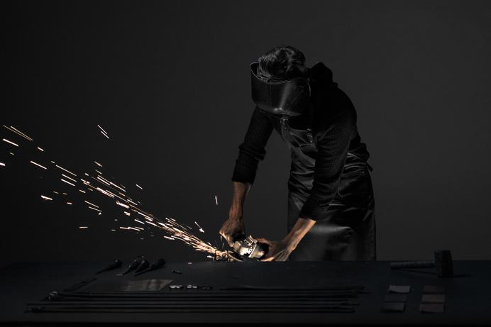 The maker scene. Upton Belts MMXV shoot by Wedge and Lever. #sparks #maker #dark #light #grinding #grinder