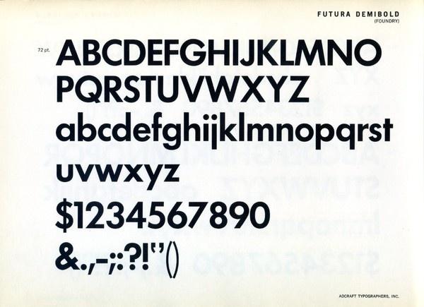 Futura Demibold type specimen. #type #specimen #typography