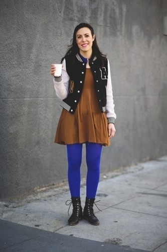 Photo 1- 14 Street Style Hotties Spotted At Four Barrel #francisco #letterman #jacket #san #photography #brown #street #fashion #blue #style