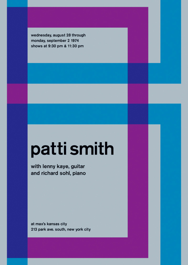 patti smith at max's kansas city, 1974 - swissted #punk #minimalistic #rock #poster #music #concert