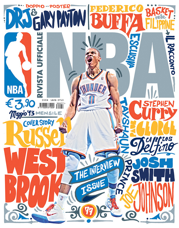 NBAITALIA2013mayo #print #hand #cover #illustration #basketball #drawn #type #nba #magazine