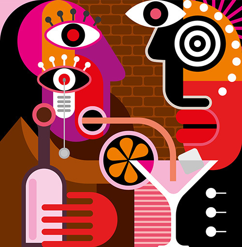 A man and a woman are having a talk at the bar - abstract vector artwork. A woman is drinking a pink cocktail through a straw. #abstract #vector #couple #drink #retro #cafe #illustration #bar #vintage #art #man #party