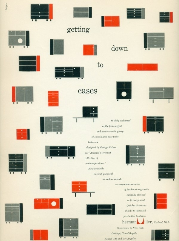 Getting Down to Cases (Herman Miller, 1952) #miller #1950s #george #nelson #charles #& #advertising #ray #vintage #herman #magazine #eames
