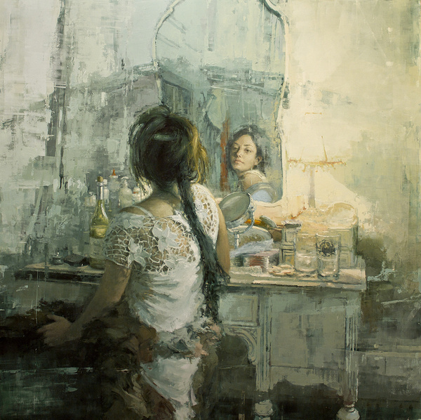 """""""The White Vanity"""" 48 x 48 in. Oil on Panel 2012 #white #girl #image #mirror #braid #painting"""
