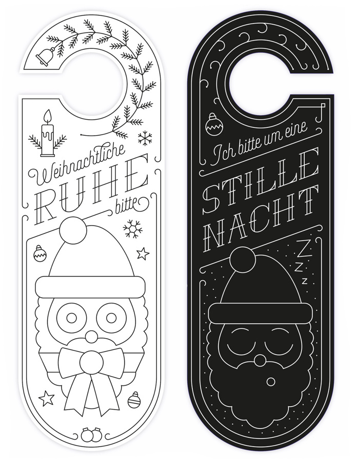 door hanger, doorhanger, door card, illustration, christmas, santa, satan, christmas card