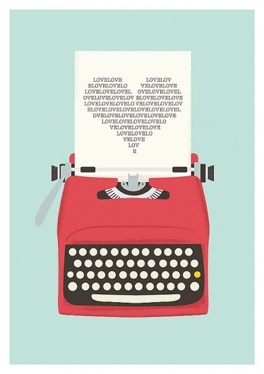 Love Print Vintage Typewriter Poster Love poster by handz #60s #print #retro #illustration #art #m #typewriter