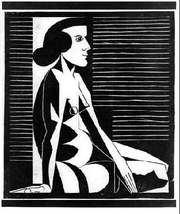 M. C. Escher, Seated Female Nude #woodcut #white #woman #black #escher #portrait #1920s #and