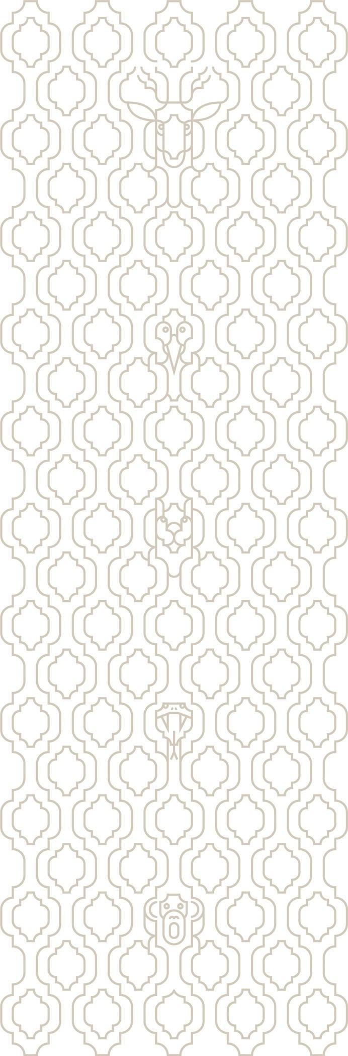 Moroccan Wallpaper by Mark Wilson #moroccan #wallpaper #pattern #antelope #snake #monkey #hidden #illusion #repeating #trellis #biomorphic #