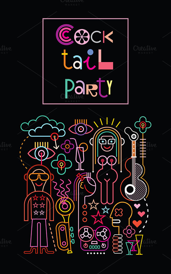 Cocktail party #neon #party #night #illustration #nightclub #music #cocktail #club