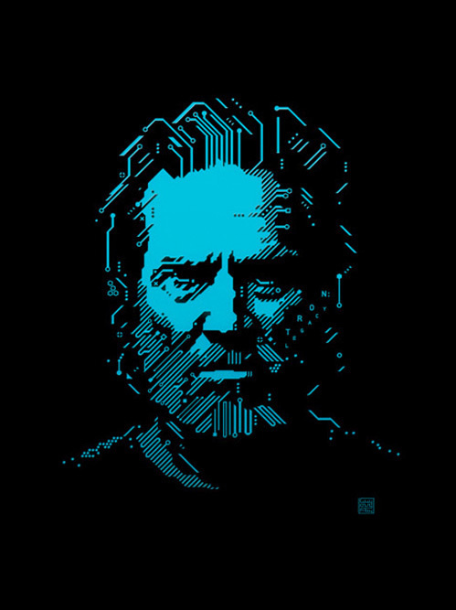 This was an illustration of Jeff Bridges for an editorial on the new Tron movie & I've wanted to rip it off for ages. So good! #design #graphic