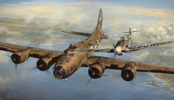 History: John D Shaw's painting A Higher Call which shows Franz Stigler and Charlie Brown in flight #lancaster #war #aeroplane #illustration #plane #bomber