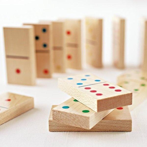 Classic Wooden Dominoes Set #gadget